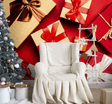 Gift boxes pack Lounge Photo Wallpaper. A great decorative Christmas decoration for both home and commercial places. Easy to apply.