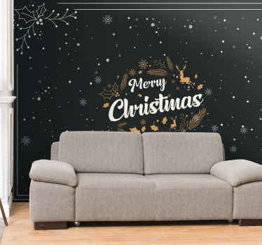 Merry Christmas wall mural decoration for Christmas. It is feature with black background hosting a reindeer, snowflakes and other elements.