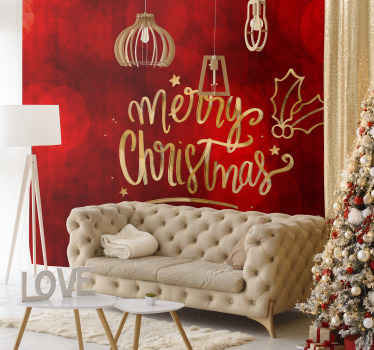 Decorative Christmas home wallpaper sticker design with red background and ornamental Christmas feature. It is easy to apply and made of high quality.