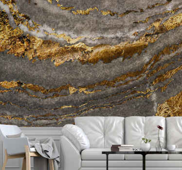 Textured pattern wall mural that would keep you wondering on it abstract design detail. A luxury wall mural depicting a mix of gold and grey elements.