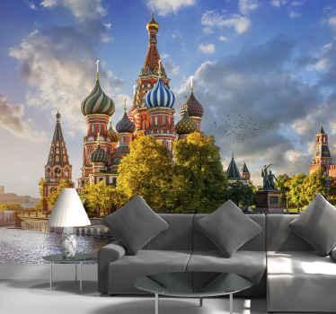 Un hermoso fotomural salón con la catedral de San Basilio  y la plaza roja que será perfecta para cualquier hogar ¡Envío gratuito!