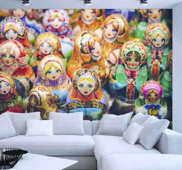 A foto perfeita do papel de parede matrioska para dar uma merecida reforma nas suas paredes! Escolha o tamanho certo para você.