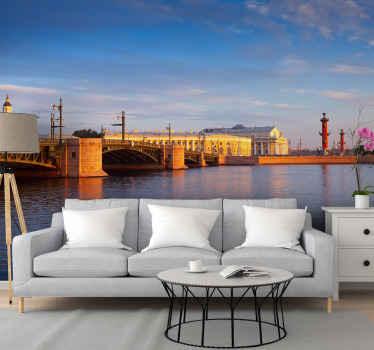 Visueel effect brug landschap fotobehang voor een woonkamer. Het ontwerp is gewoon alles wat zorgt voor een aantrekkelijk uitzicht op st. Petersburg bridge in 3d.