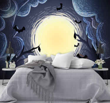 An adhesive coloured photo wall mural for home  and on other space. The design is featured with scary Halloween figures in an elegant display.