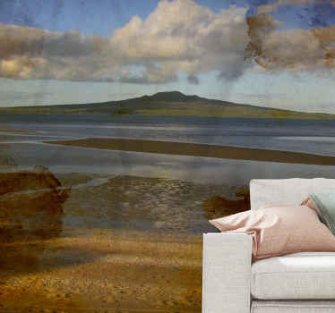 Rangitoto New Zealand sea wall mural design to decorate your space leaving it with a thrilling and wonderful atmosphere transformation.