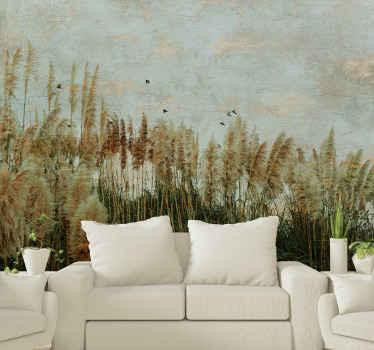 Fotomural prado de planta natural pintado con pájaros volando. Es original y fabricado con material de alta calidad ¡Envío gratuito!