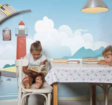 Decorative kids bedroom wall mural design of the scenery view of the high sea.  Also has a colorful light house illustrating a ship navigation point