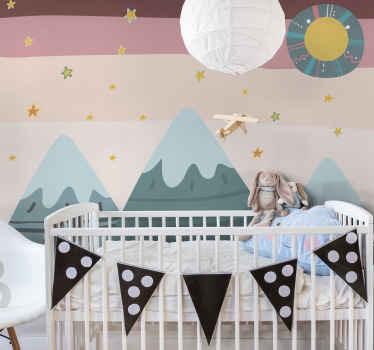 幸せな山の子供たちは、山の特徴、星、その他の特別なデザインで壁の壁画をデザインします。高品質で簡単に適用できます。