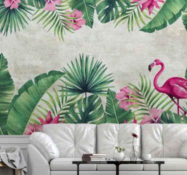 Farverig tropisk natur plante fototapet med flamingo fugl til at dekorere et hjem og andet rum. Let at anvende og fås i forskellige størrelser.