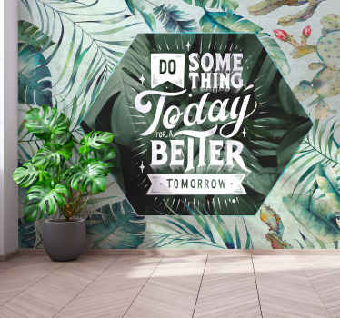 Tropical nature wall mural in watercolor. The design is also inscribed with text on a transparent hexagonal. Easy to apply and made of high quality.