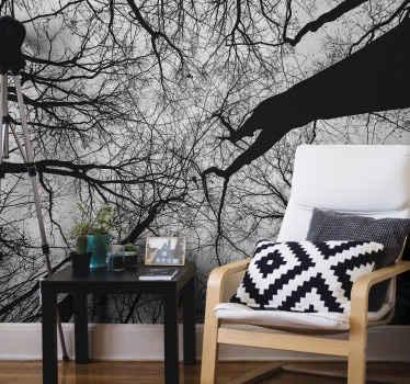 Fortryllende skogsfoto veggmaleri for dekorasjon hjemme og på kontoret. Designet ser ut som en ekte skog, enkel å påføre og av høy kvalitet.