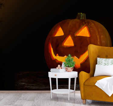 Ghost pumpkin Halloween wall mural with a scary and horrific appearance, It is featured on a red scary theme background appearance.