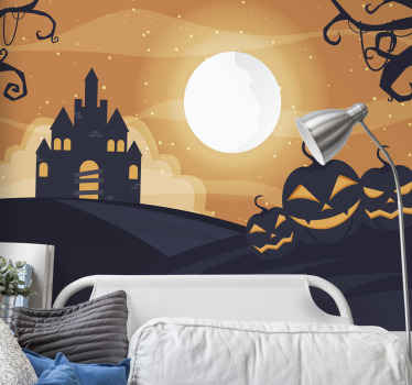 Featured scary Halloween wall mural design with the designof ghost pumpkins, ghost house and trees. Easy tp apply and of high quality material.