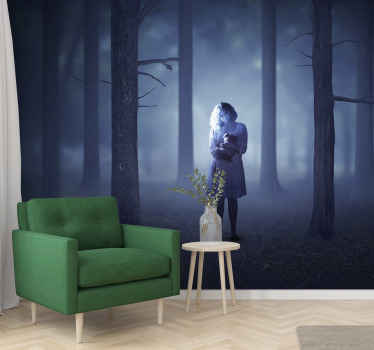 Looking for a scary Halloween wall mural design to decorate a space for Halloween festival? here is a foggy dark forest design with a ghost girl.
