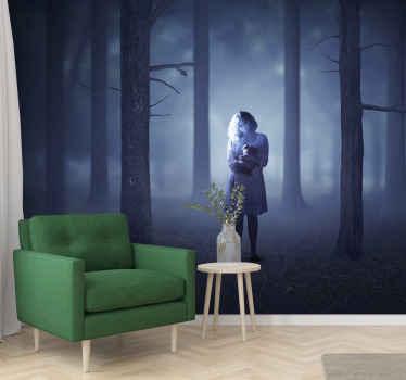 ハロウィンフェスティバルのスペースを飾るための怖いハロウィーンの壁の壁画デザインをお探しですか?これは、幽霊少女のいる霧の暗い森のデザインです。