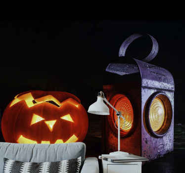 Featured Halloween photo mural with a ghost pumpkin and lamp design A lovely decoration for any space during Halloween festival.