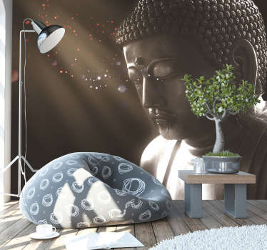 Get into the zone with this superb meditating buddha wall mural.  Designed to instill peace  within, this beautiful image will be perfect in bedrooms!