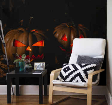 Black background with scary pumpkin wall mural. A design of a two large scary carved pumpkin with red light emitting from within it.