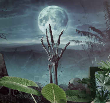 Scary decorative Halloween wall mural design featuring a deserted landscape with grave and skeletal hand thrusting from the grave.