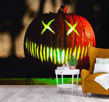 Halloween scary pumpkin wall mural. A simple Halloween design of a large scary carved pumpkin image to decorate the home or other space for Halloween.