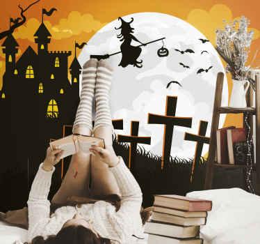 produtode fotomural vinílico de parede de halloween decorativo assustador contendo diferentes características de terror. Um produtopara incitar o medo e o terror do halloween em convidados e amigos.