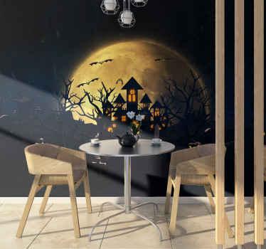 リアルな写真の壁の壁画デザインは、ハロウィーンのお祭りのスペースを飾ります。デザインには満月の城が含まれています。オリジナルで簡単に適用できます。