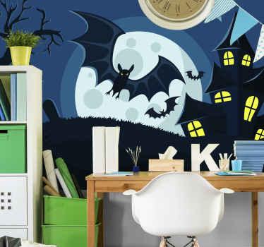 Forestill deg et forlatt hus eller slott som tar over av svarte flaggermus og ond ugle. Dette er hva dette halloween-veggmaleriet skildrer. Enkel å påføre og original.