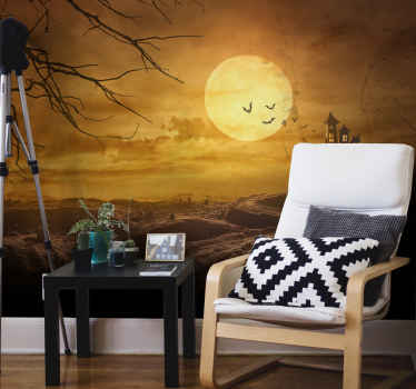 Let your mind drive wild with imagination of terror in a deserted castle with this featured Halloween wall mural design.