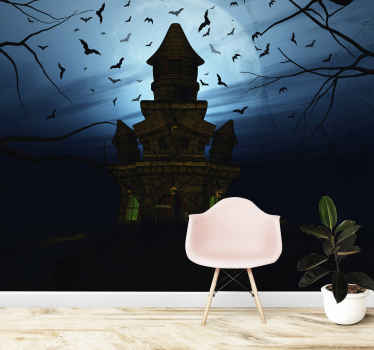 Decorative scary hunted big house Halloween wall mural to decorate any wall space to install the atmosphere with Halloween scare and horror.