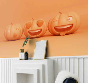 Looking for a colorful Halloween wall mural design for home or event space?. A perfect design featured with different carved pumpkins with emoji face.