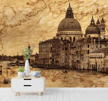 Decoratieve landschaps fotobehang van het weg kanaal van italië met oude monumentale gebouwen en het kanaal. Makkelijk aan te brengen en van hoge kwaliteit.