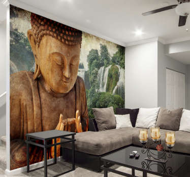 Love waterfalls and love buddhas? Why not have the best of both with this buddha wall mural? A stunning design made to instill peace inside of you