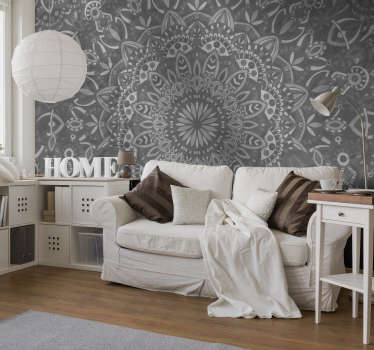 Grey mandala wall mural
