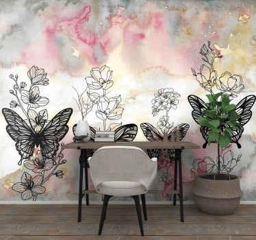 Fotomural de arte de mariposas apto para salón, dormitorio e incluso habitación infantil. Diseño abstracto y artístico con mariposas