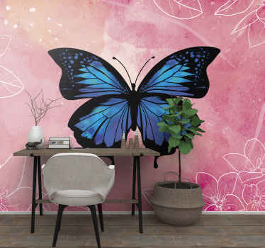 Beautiful butterflies wall mural to change the space of a room in an original way. The design would help you get the fairy butterfly fantasy you want.