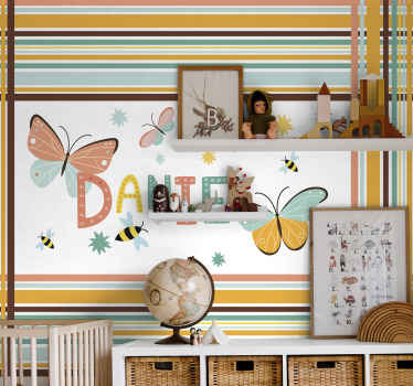 Personalized name butterflies wall mural. A suitable design for children bedroom. Easy to apply and of high quality material.