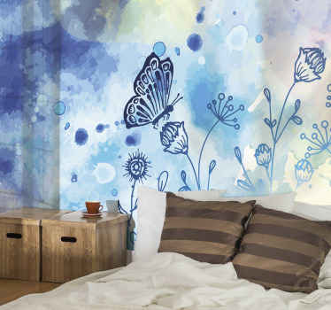 Decorative blue butterfly wall mural for children bedroom. A design decoration to transform a room with a warm touch!. Easy to apply and of quality.