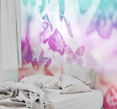 Fotomural infantil y juvenil de mariposas multicolores para crear una atmósfera de hadas de mariposas en tu cuarto ¡Envío gratuito!