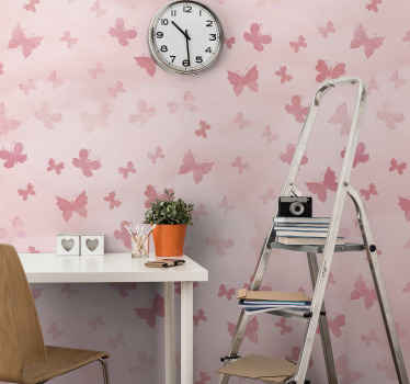 Amazing pink wall mural featured with prints of pink butterflies. Decoration to create a fairy feeling of an atmosphere of for kids.