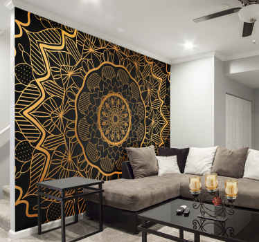 Turn your boring walls into a work of art with this amazingly beautiful golden mandala wall mural. Free worldwide delivery available!