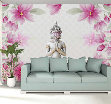 Bring a little feeling Zen into your home with this awesome meditating Buddha mural wallpaper. Free worldwide delivery available!