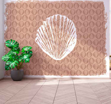 Decorative beige wall mural with seashell patterned prints. It is suitable for any space in a house and easy to apply. Original and durable.