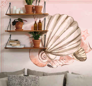 A collection of beautiful pink texture seashell wall mural. The design is a one large shell with other small sizes ones.