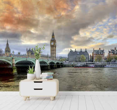 Photomural with a view of the city of London that will give a perfect modern touch to your home with a product that you can apply by yourself.