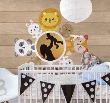 Cadre animalier avec des peintures murales photo pour la décoration de la chambre des enfants. Vous pouvez télécharger n'importe quelle photo de désir pour personnaliser le papier peint.