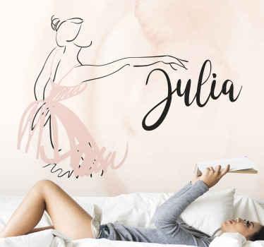 Fotomural infantil o juvenil con bailadora de ballet en el que podrás personalizar el nombre que desees. Fondo rosa ¡Envío gratuito!