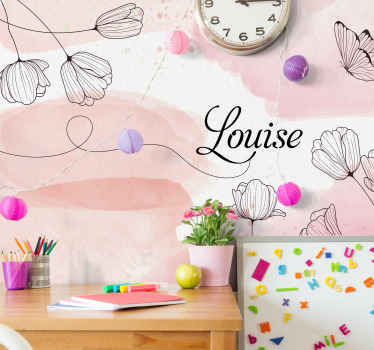 Beautiful flowers with name custom wall mural for children bedroom. Suitable for teenager's and kids room. It is original, durable and matter finish.