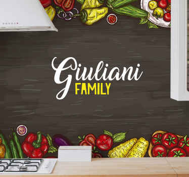 Customize your kitchen with our decorative kitchen wall mural containing designs of vegetables and customizable with your family name.