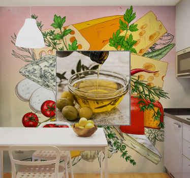 Realistic food cuisine wall mural for kitchen. Beautify a kitchen space or dining  with this design illustrating food preparation in a kitchen.