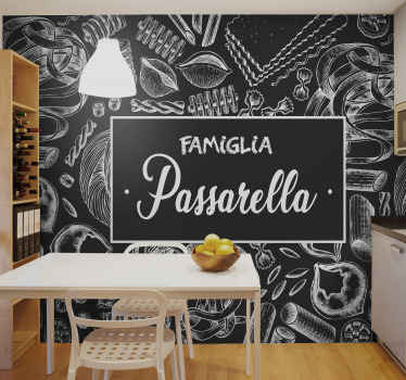 Personalisable name kitchen wall mural. Beautiful design with drawing designs illustrating different food preparations. Original and durable.